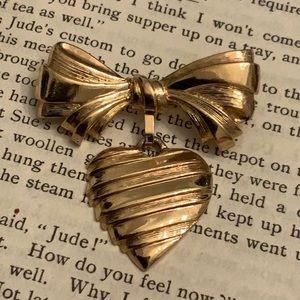 Vintage AVON Bow Dangled Heart Gold Tone Brooch
